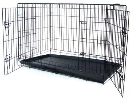 "YML Group DSA42 42"" Foldable Heavy Duty 2 Door Dog Crate from YML Group"
