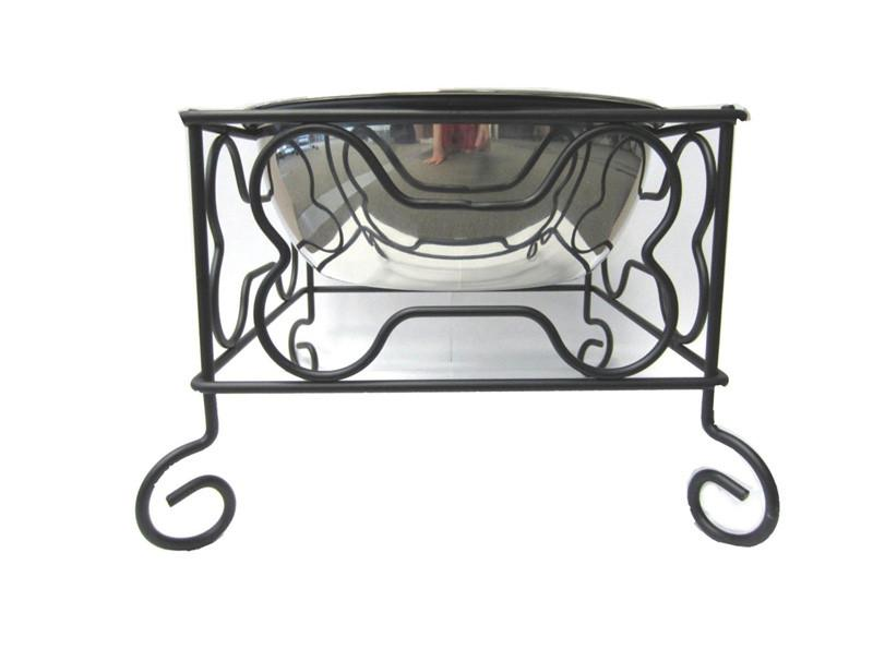 "YML Group DSB10 10"" Wrought Iron Stand with Single Stainless Steel Feeder Bowls from YML Group"