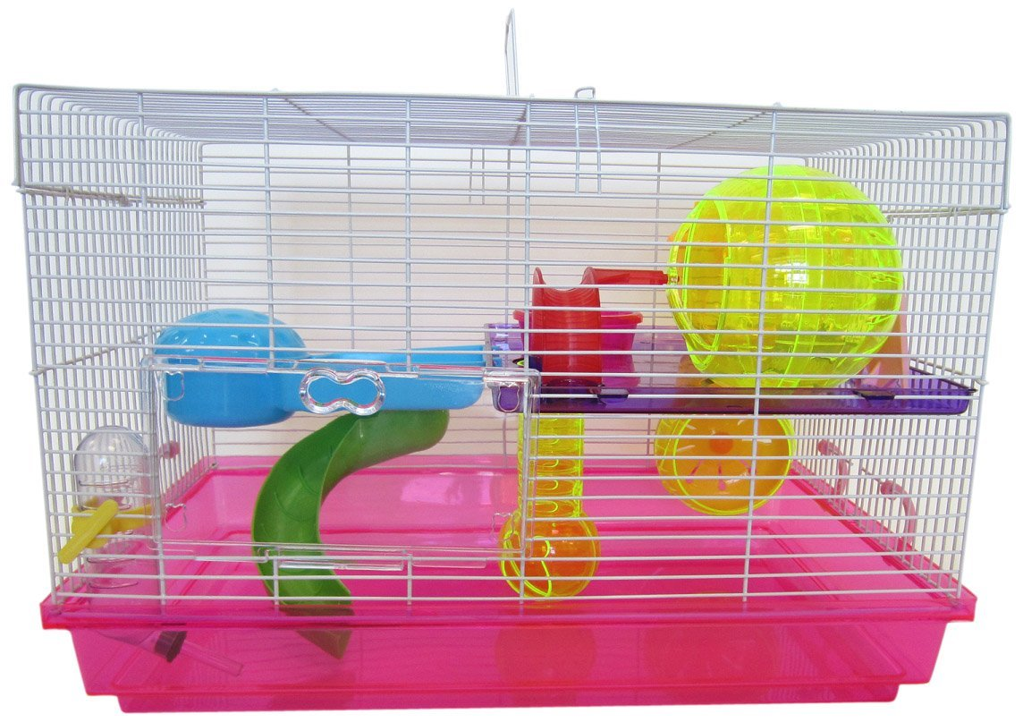 YML Group H1812PK H1812 Clear Plastic Dwarf Hamster, Mice Cage with Color Accessories, Pink from YML Group