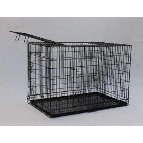 "YML Group SA42 42"" Double Door Dog Kennel Cage With Plastic Tray No Bottom Wire, Black from YML Group"