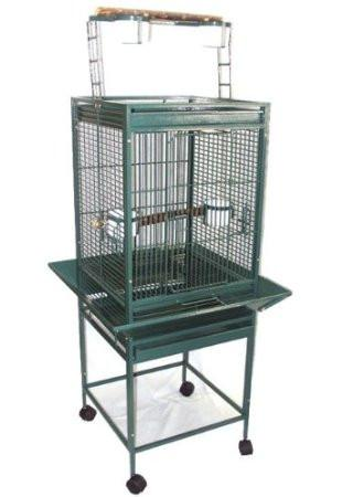 "YML Group WI18HGN WI18 1/2"" Bar Spacing Play Top Wrought Iron Parrot Cage - 18""x18"" in Green from YML Group"