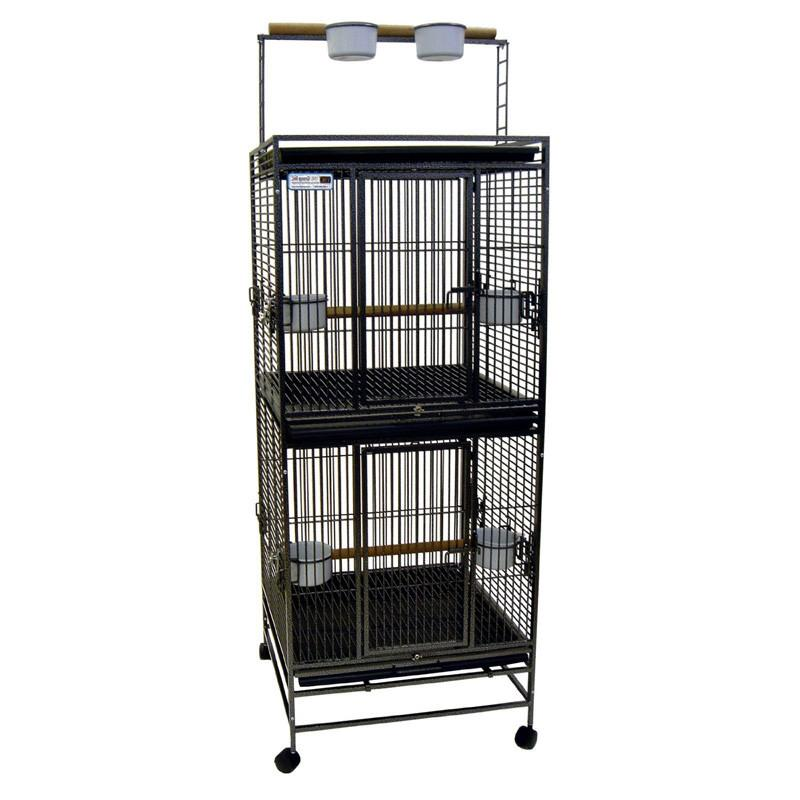 "YML Group WI24DWHT WI24D 5/8"" Bar Spacing Play Top Wrought Iron Double Cage - 25""x25"" In White from YML Group"