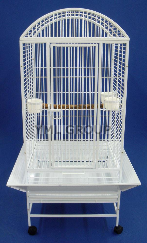 "YML Group WI24WHTR WI24R 3/4"" Bar Spacing Dome Top Wrought Iron Parrot Cage - 24""x22"" In White from YML Group"