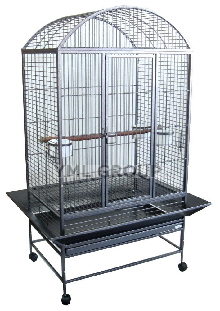 "YML Group WI32ASR WI32 3/4"" Bar Spacing Dome Top Wrought Iron Parrot Cage - 32""x23"" In Antique Silver from YML Group"
