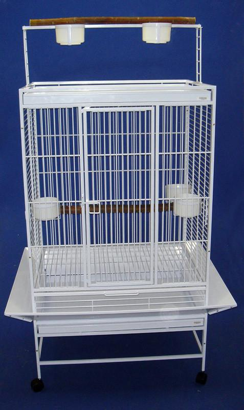 "YML Group WI32WHT WI32 3/4"" Bar Spacing Play Top Wrought Iron Parrot Cage - 32""x23"" In White from YML Group"