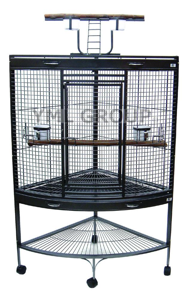 "YML Group WI37CAS 3/4"" Bar Spacing Corner Wrought Iron Parrot Cage - 37""x26.5x62"" In Antique Silver from YML Group"