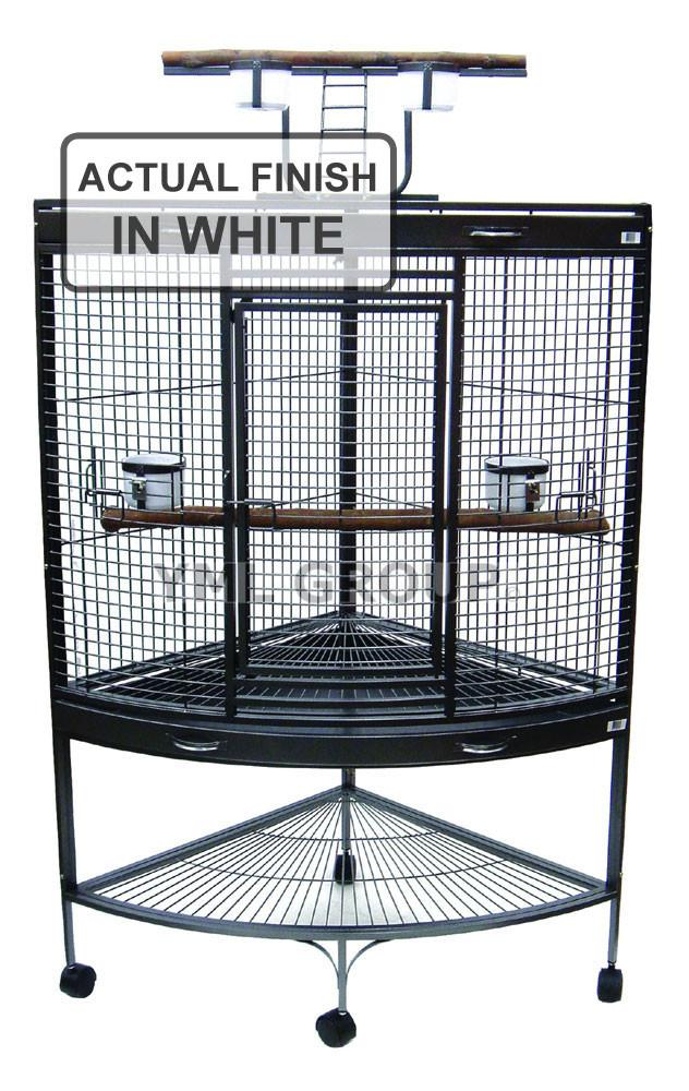 "YML Group WI37CWHT 3/4"" Bar Spacing Corner Wrought Iron Parrot Cage - 37""x26.5x62"" In White from YML Group"
