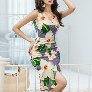 Flower Print Sleeveless Sheath Dress from Yilda