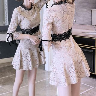 Lace 3/4-Sleeve A-Line Dress from Yilda