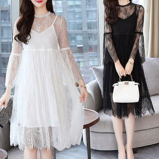 Lace Long-Sleeve A-Line Dress from Yilda