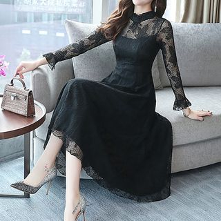 Long-Sleeve A-Line Midi Lace Dress from Yilda