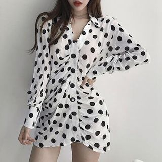 Long-Sleeve Dotted A-Line Mini Dress from Yilda