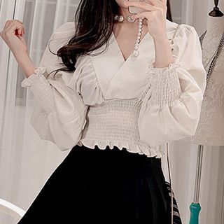 Long-Sleeve Frill Trim Crinkled Blouse from Yilda