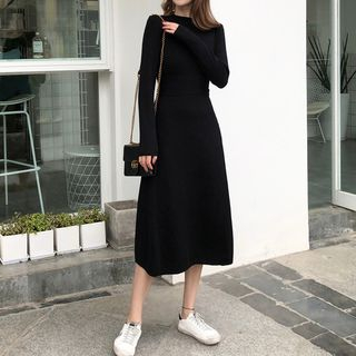 Long-Sleeve Midi Knit A-line Dress from Yilda