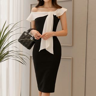 Off-Shoulder Bow-Accent Sheath Dress from Yilda
