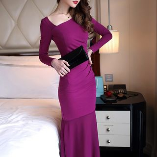 Open Back Long-Sleeve Mermaid Evening Gown from Yilda