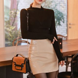 Set: Long-Sleeve Top + Faux Leather Mini Pencil Skirt from Yilda