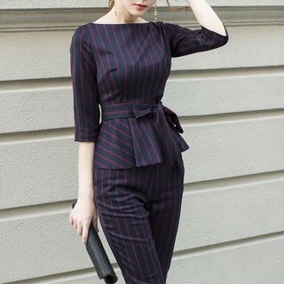 Set: Tie-Waist Striped Top + Pants from Yilda
