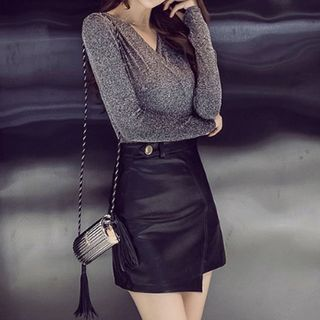 Set: V-Neck Long-Sleeve Glitter Top + Faux Leather A-Line Skirt from Yilda