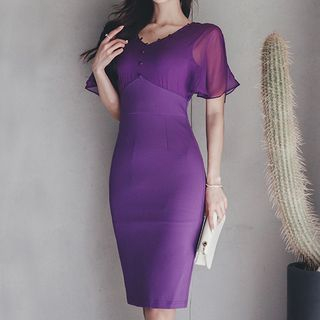 Short-Sleeve Chiffon Panel Sheath Dress from Yilda