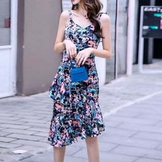 Sleeveless Floral Ruffled Dress from Yilda