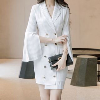 Split-Sleeve Double-Breasted Pinstriped Blazer Dress from Yilda