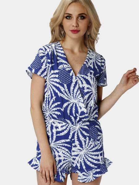 Yoins Blue Palm Print Short Sleeve Wrap-over Playsuit with Frill Hem from Yoins