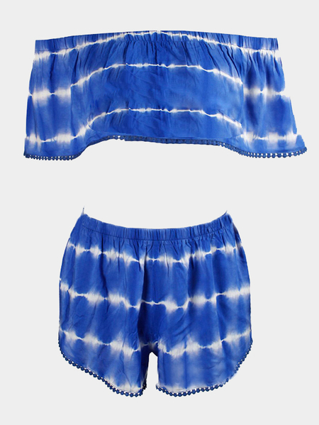 Yoins Blue Tie-dye Pom Pom Off Shoulder Crop Top Co-ord from Yoins