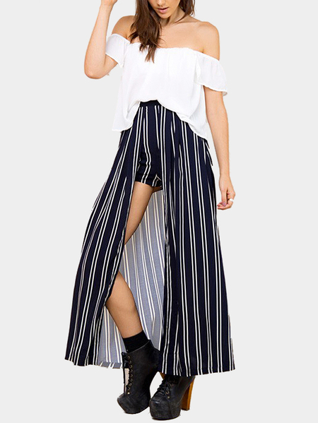 Yoins Fashion Off Shoulder Stripe Co-ord from Yoins
