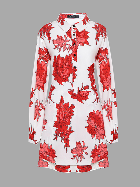 Yoins Floral Print Long Sleeve Mini Dress from Yoins