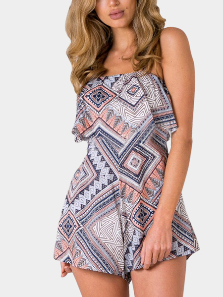 Yoins Geo Print Backless Strappy Beach Playsuit from Yoins
