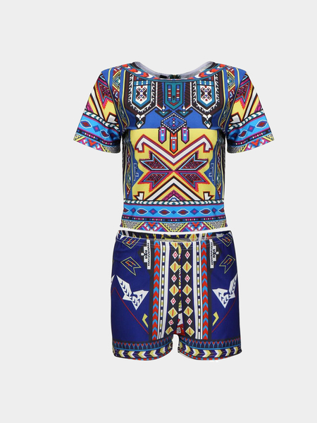 Yoins Geometrical Print Crew Neck Co-ord from Yoins