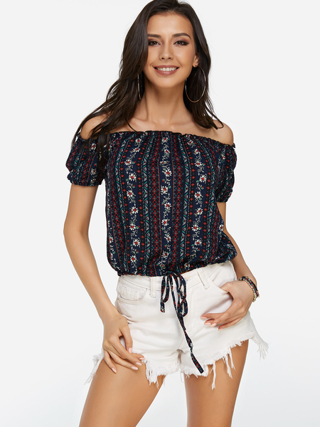Yoins Lace-up Design Random Calico Print Off The Shoulder Short Sleeves Top from Yoins