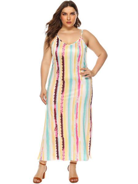 Yoins Plus Size Multi Color Backless Design Stripe Dress from Yoins