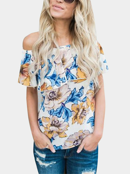 Yoins Random Floral Print Off Shoulder Flouncy T-shirt from Yoins