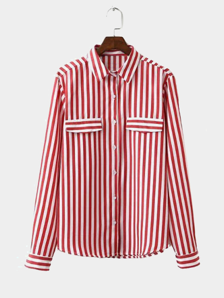 Yoins Red Classic Stripe Pattern Button Pocket Front Shirt from Yoins