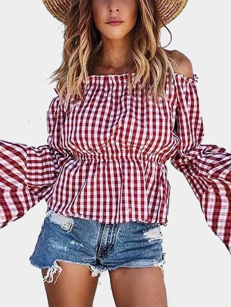 Yoins Red Grid Pattern Off The Shoulder Long Sleeves Top from Yoins