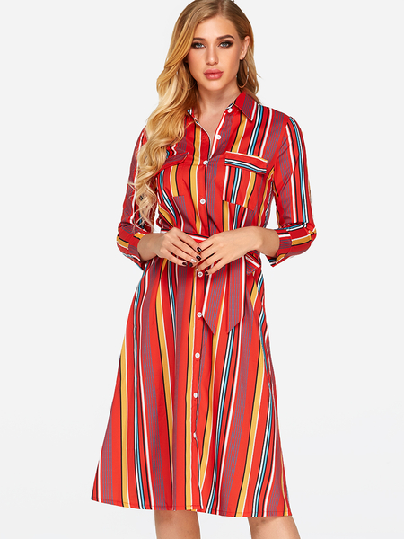 Yoins Red Printed Classic Collar 3/4 Length Sleeves Dress with Belt from Yoins