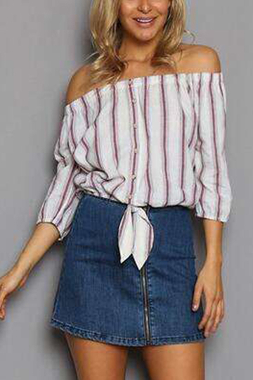 Yoins Red Sexy Off Shoulder Stripe Pattern 3/4 Length Sleeves Shirt from Yoins