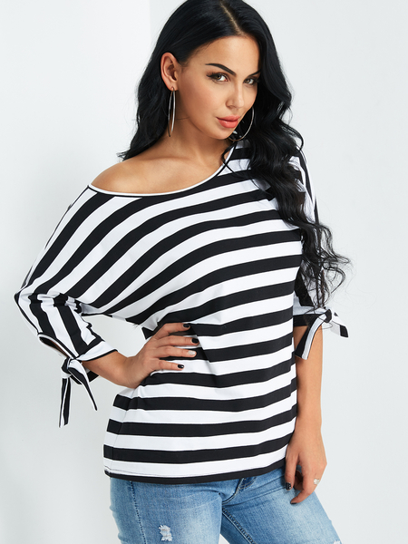 Yoins Stripe One Shoulder Top With Tie-up At Cuffs Design from Yoins