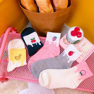 Fruit Embroidered Socks from Yunikon