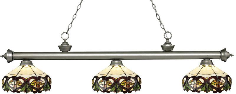 Z-Lite 200-3AS-Z14-33 3 Light Billiard Light Riviera Antique Silver Collection Multi Colored Tiffany Finish from Z-Lite
