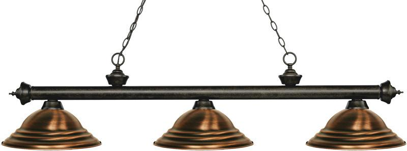 Z-Lite 200-3GB-SAC 3 Light Billiard Light Riviera Golden Bronze Collection Stepped Antique Copper Finish from Z-Lite