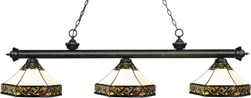 Z-Lite 200-3GB-Z16-30 3 Light Billiard Light Riviera Golden Bronze Collection Multi Colored Tiffany Finish from Z-Lite