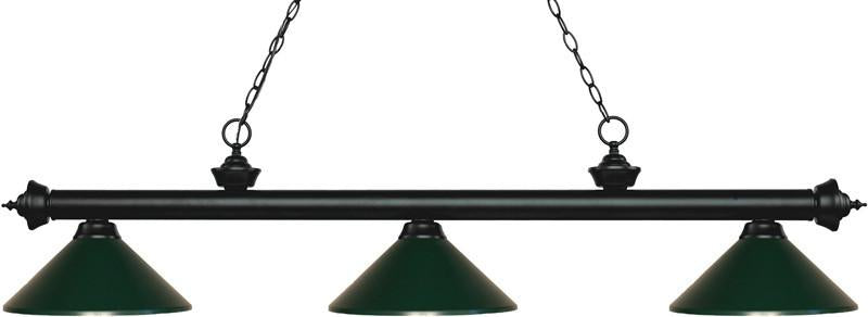 Z-Lite 200-3MB-MDG 3 Light Billiard Light Riviera Matte Black Collection Dark Green Finish from Z-Lite