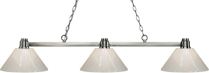 Z-Lite 314BN-PWH 3 Light Island/Billiard Light Park Brushed Nickel Collection White Finish from Z-Lite