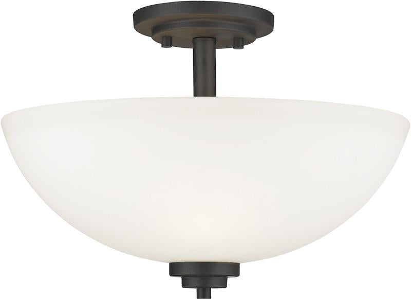 Z-Lite 443SF-BRZ 3 Light Semi Flush Mount Ashton Collection Matte Opal Finish from Z-Lite