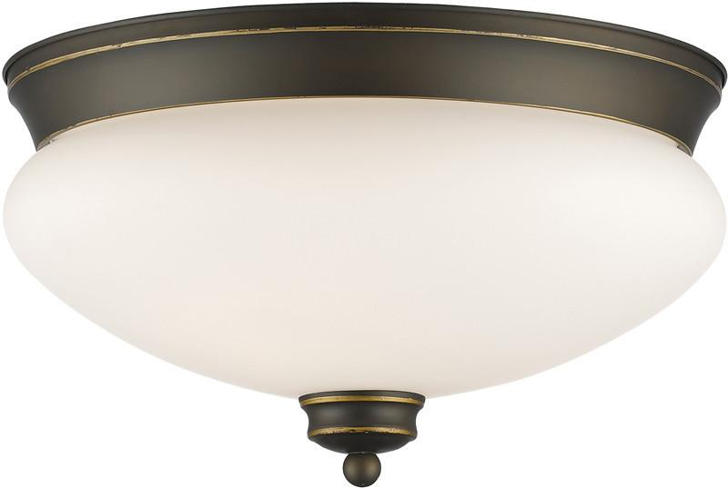 Z-Lite 721F2-OB 2 Light Flush Mount Amon Collection Matte Opal Finish from Z-Lite