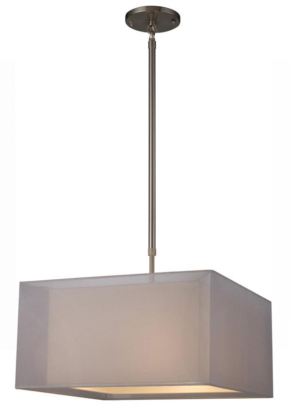 Z-Lite Nikko Collection Brushed Nickel/White Finish Three Lights Pendant from Z-Lite