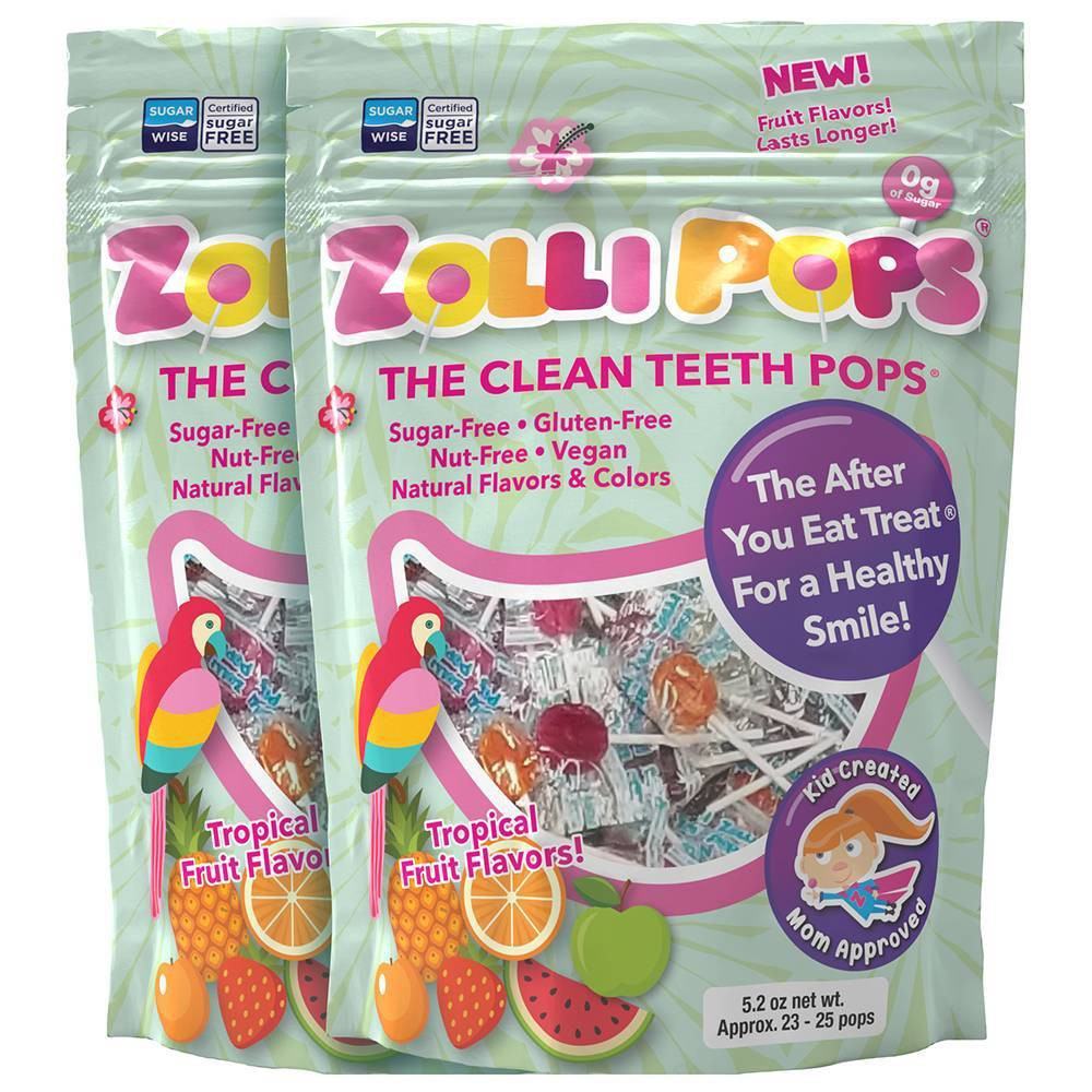 Zolli Pops Tropical Sugar Free Lollipops Candy Double - 5.2oz from Zolli